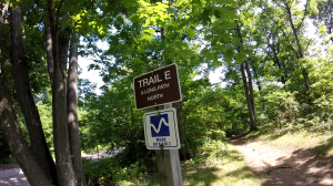 palisades state line lookout - peanut leap trail - trail e sign